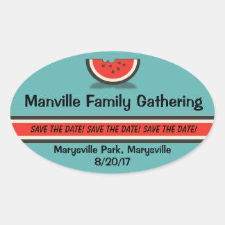Reserva de la reunión de familia de la sandía los pegatina ovalada
