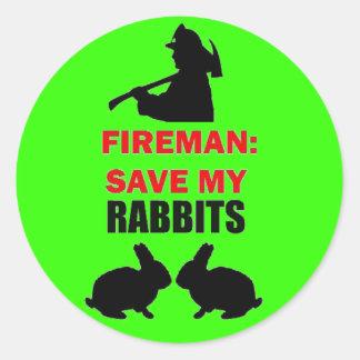 Reserva de la seguridad contra incendios mis pegatina redonda