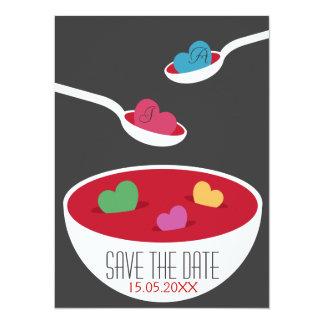 """Reserva de la sopa del amor la fecha invitación 5.5"""" x 7.5"""""""