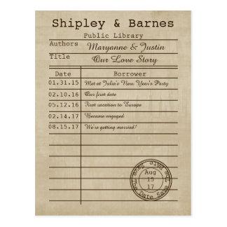 Reserva de la tarjeta de biblioteca del vintage la postales