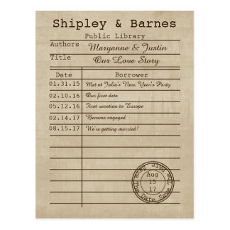 Reserva de la tarjeta de biblioteca del vintage la postal