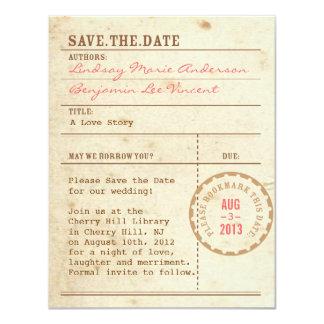 Reserva de la tarjeta de biblioteca la fecha invitación 10,8 x 13,9 cm