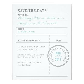 "Reserva de la tarjeta de biblioteca la fecha invitación 4.25"" x 5.5"""