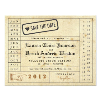 Reserva de la tarjeta de sacador del vintage la invitación 10,8 x 13,9 cm