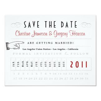 Reserva de la tarjeta de sacador la fecha invitación 10,8 x 13,9 cm
