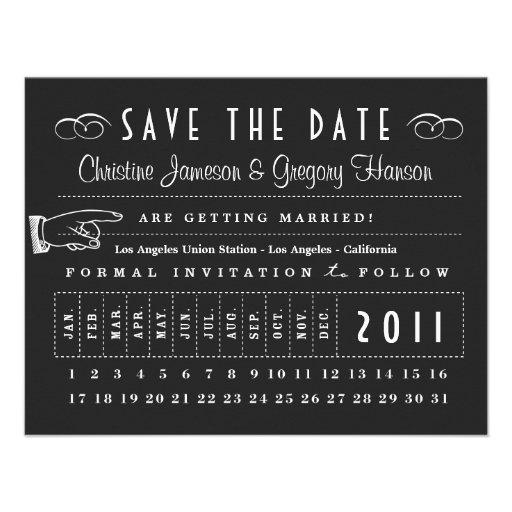 Reserva de la tarjeta de sacador la fecha invitaciones personalizada