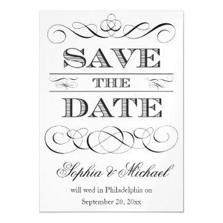 Reserva de la tipografía del vintage el boda de la invitaciones magnéticas