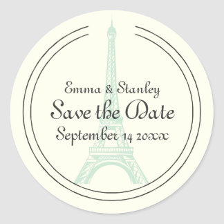 Reserva de la torre Eiffel de la menta del boda de Etiqueta Redonda