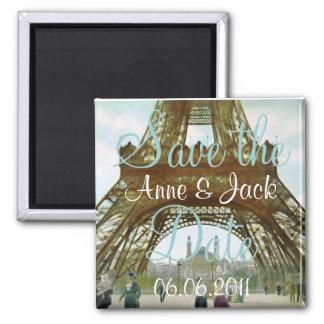 Reserva de la torre Eiffel la fecha Imán Cuadrado
