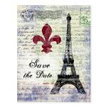 Reserva de la torre Eiffel la postal de la fecha