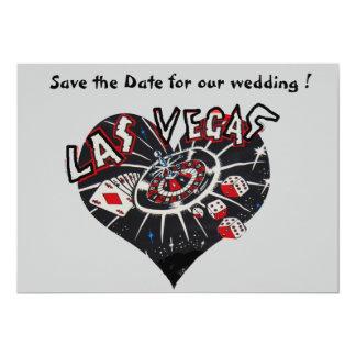 """Reserva de Las Vegas el corazón de la fecha Invitación 5"""" X 7"""""""
