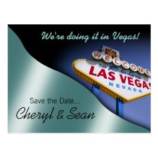 Reserva de Las Vegas la fecha (aguamarina metálica Tarjetas Postales