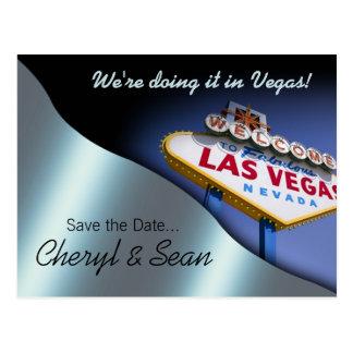 Reserva de Las Vegas la fecha (azul metálico) Tarjeta Postal