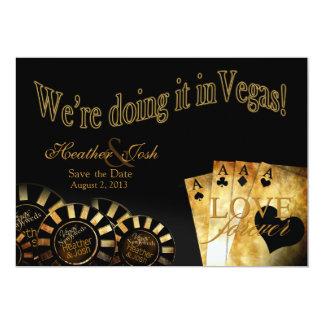 Reserva de Las Vegas la fecha (éntreme en contacto Invitación 12,7 X 17,8 Cm