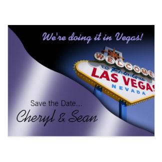 Reserva de Las Vegas la fecha (lila metálica) Tarjetas Postales
