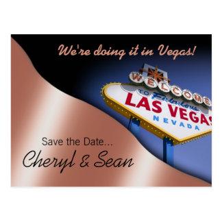 Reserva de Las Vegas la fecha (melocotón metálico) Tarjeta Postal
