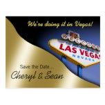 Reserva de Las Vegas la fecha (oro ligero metálico Postales