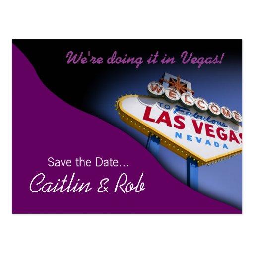 Reserva de Las Vegas la fecha (púrpura) Tarjeta Postal