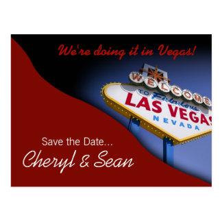 Reserva de Las Vegas la fecha (rojo oscuro) Postales