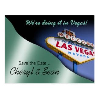 Reserva de Las Vegas la fecha (verde menta metálic Tarjetas Postales