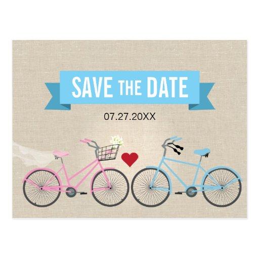 Reserva de lino del boda de la bicicleta del estil tarjetas postales