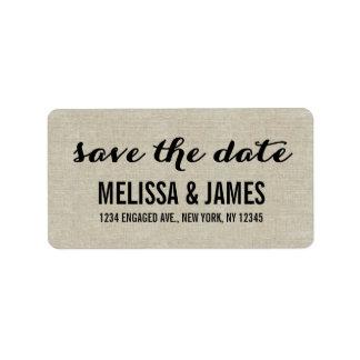 Reserva de lino rústica de la escritura la fecha etiquetas de dirección