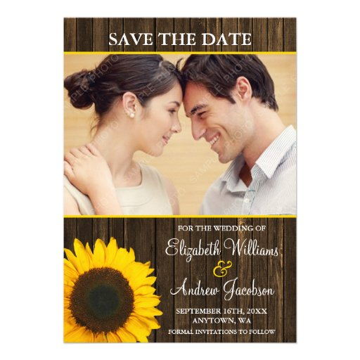 Reserva de madera de la foto del granero amarillo  invitacion personalizada