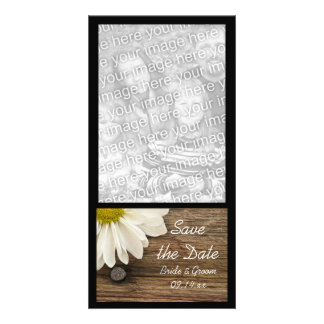 Reserva de madera de la margarita del boda del paí tarjetas fotográficas personalizadas