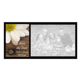 Reserva de madera de la margarita del boda del paí tarjetas fotograficas