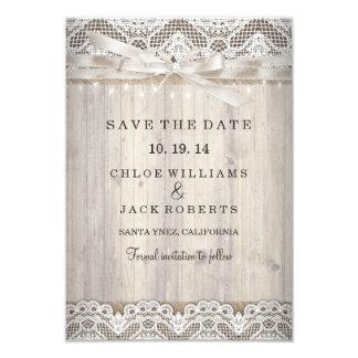 """Reserva de madera del boda del cordón rústico del invitación 3.5"""" x 5"""""""