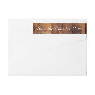 Reserva de madera del boda del granero rústico de etiquetas postales
