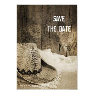 Reserva de madera del boda del país del granero invitación 12,7 x 17,8 cm