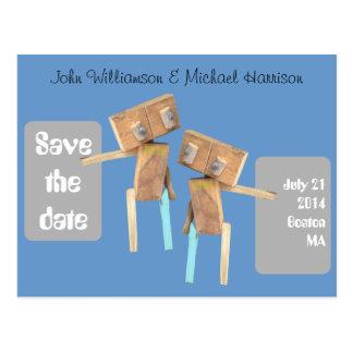 Reserva de madera del gay de los robots la fecha postales