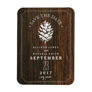 Reserva de madera del granero de Pinecone la fecha Imán