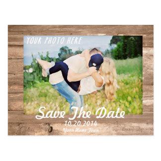 Reserva de madera el blanco de la fecha postales