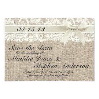 """Reserva de marfil del boda del cordón y de la invitación 3.5"""" x 5"""""""