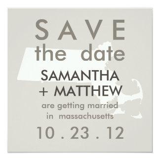"Reserva de Massachusetts las tarjetas de fecha Invitación 5.25"" X 5.25"""