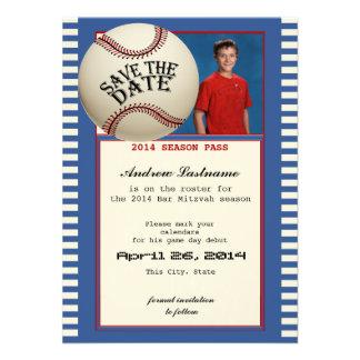 Reserva de Mitzvah de la barra del béisbol la fech Invitación Personalizada