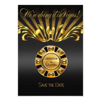 """Reserva de Nouveau Vegas del arte el negro del oro Invitación 5"""" X 7"""""""