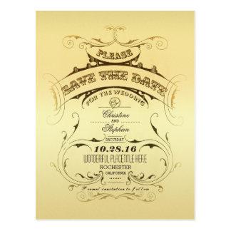 Reserva de oro del vintage la postal de la fecha