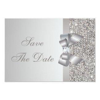 Reserva de plata de las lentejuelas, del arco y invitacion personalizada