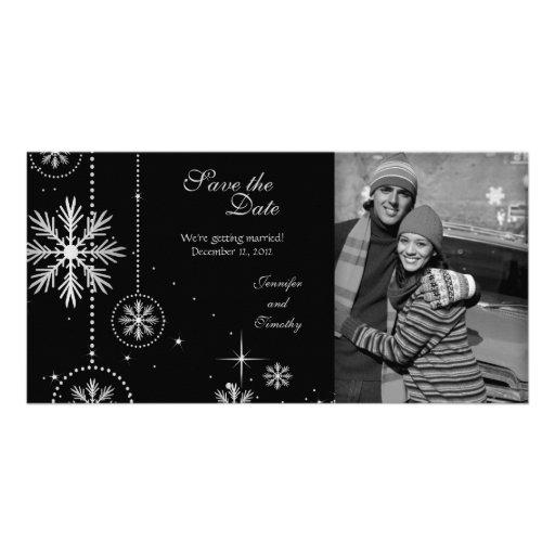 Reserva de plata negra del boda del invierno la fo tarjeta fotográfica personalizada