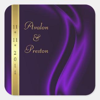 Reserva de seda púrpura del oro del marqués el pegatina cuadrada