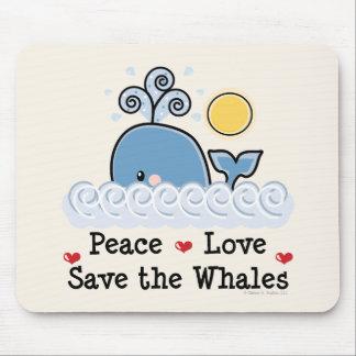 Reserva del amor de la paz las ballenas Mousepad