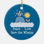 Reserva del amor de la paz que las ballenas adorna ornaments para arbol de navidad