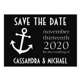 """Reserva del ancla del barco la fecha (negro) invitación 5"""" x 7"""""""