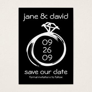 Reserva del anillo de diamante la fecha tarjeta de negocios