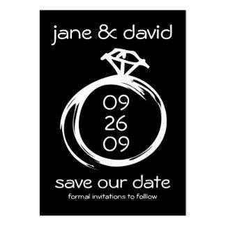 Reserva del anillo de diamante la fecha tarjetas de visita grandes