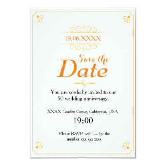 """Reserva del aniversario de boda de oro la fecha invitación 3.5"""" x 5"""""""