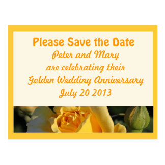 Reserva del aniversario de boda de oro la fecha postal